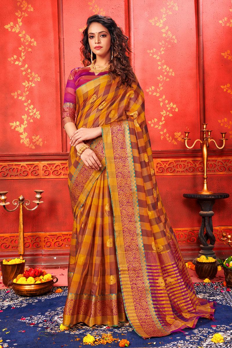 Weaving Work Orange Color Art Silk Fabric Function Wear Saree