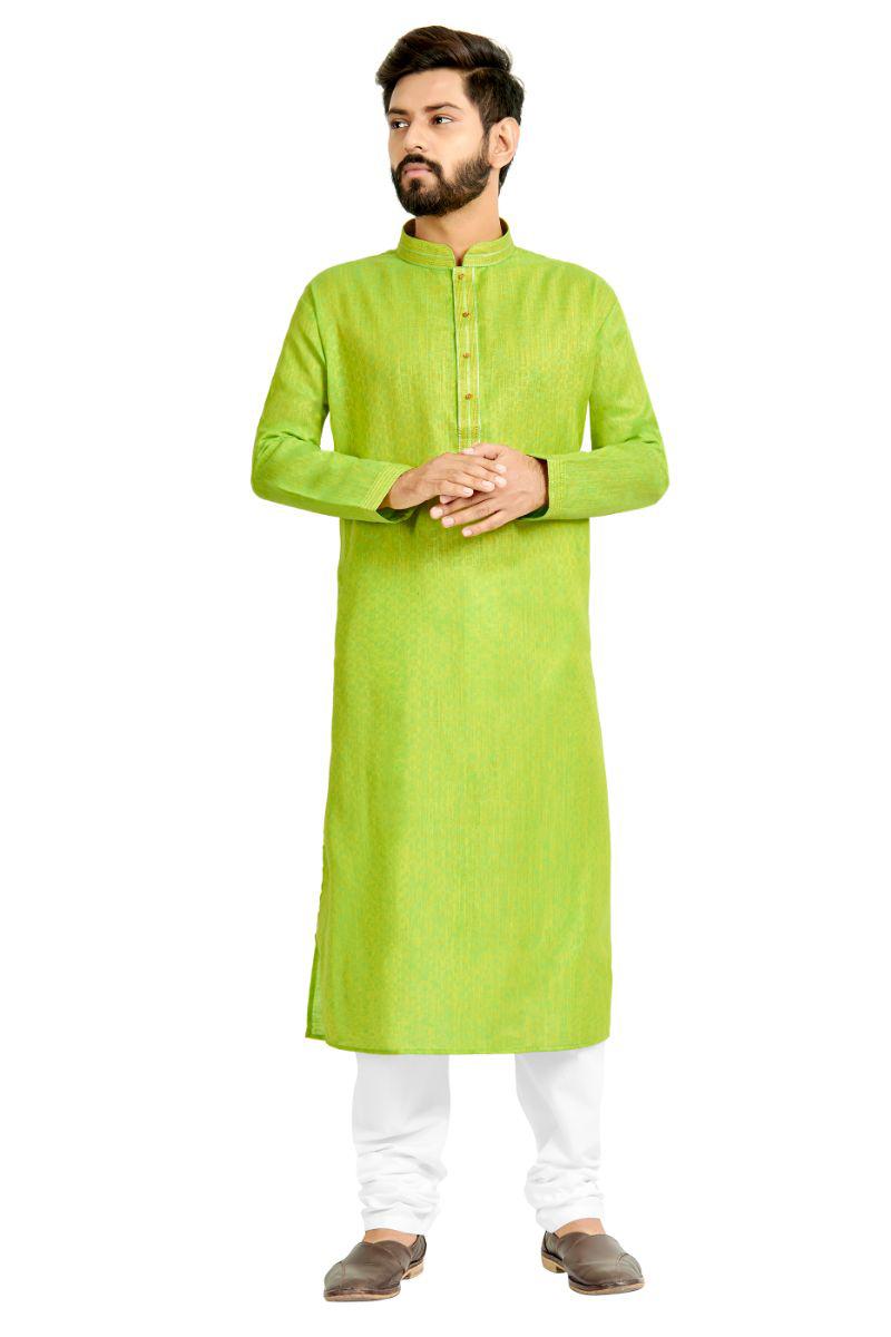 Sangeet Wear Cotton Fabric Kurta Pyjama In Green Color For Men
