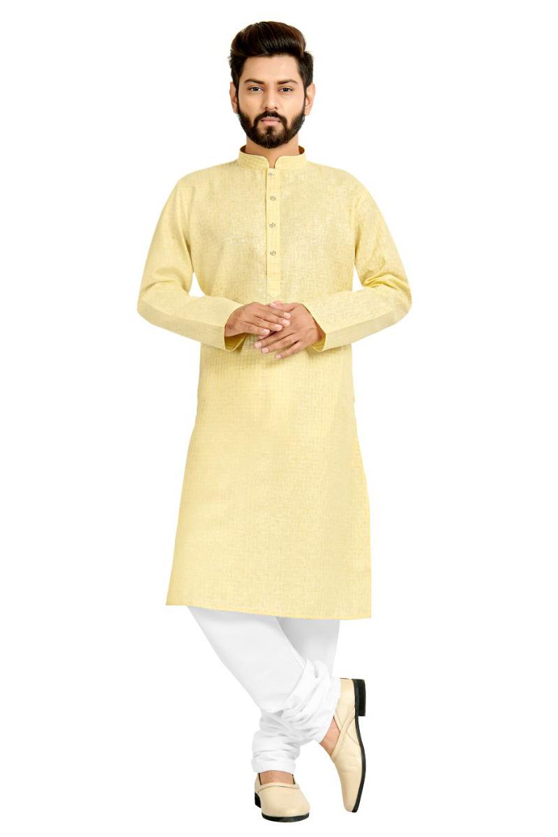 Function Wear Cotton Fabric Kurta Pyjama In Beige Color For Men