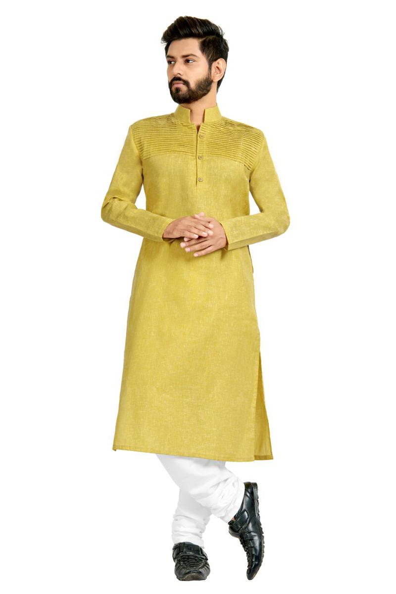Cotton Fabric Yellow Color Function Wear Kurta Pyjama
