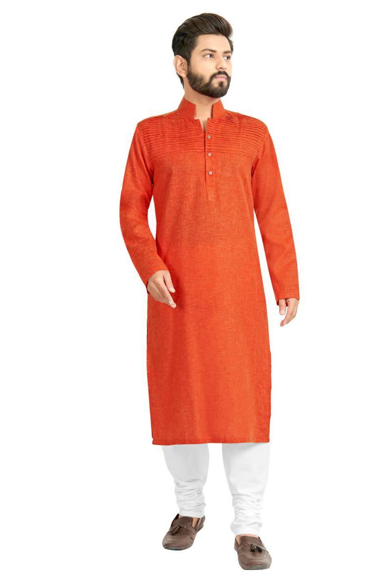 Mens Function Wear Orange Color Kurta Pyjama