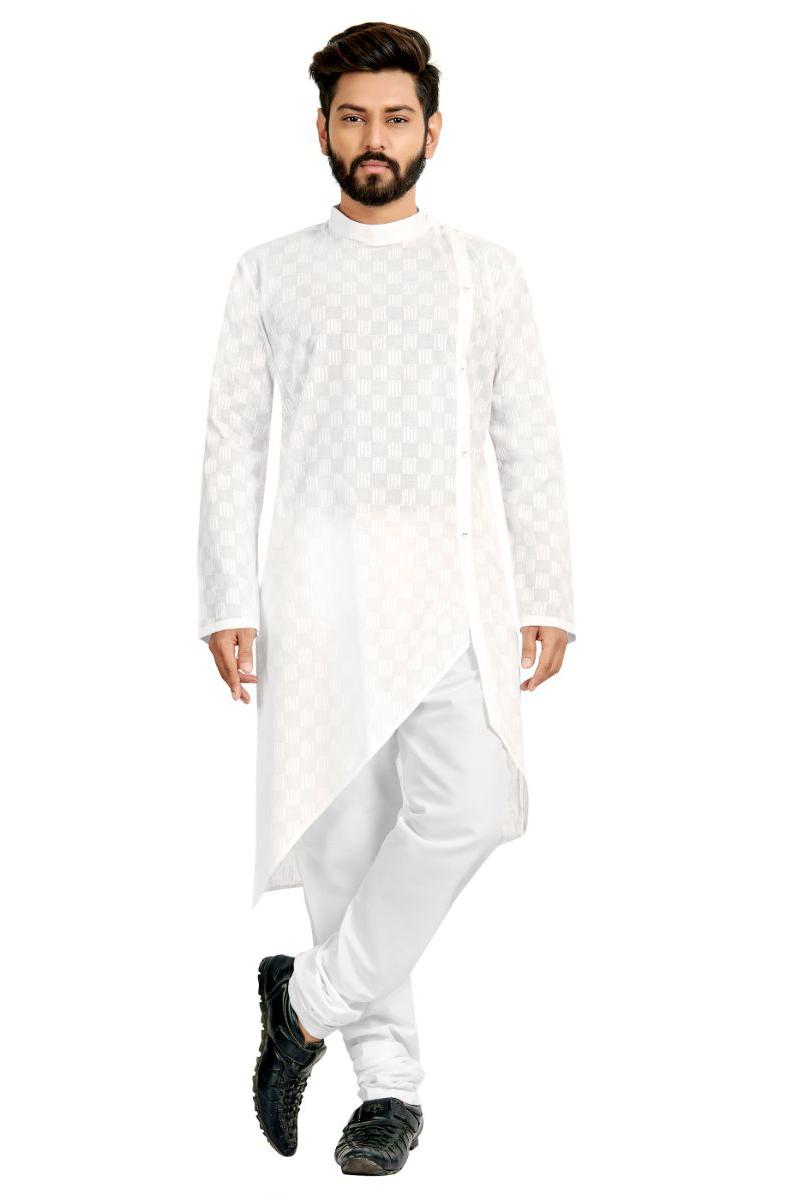 Cotton Fabric Festive Wear Kurta Pyjama In White Color
