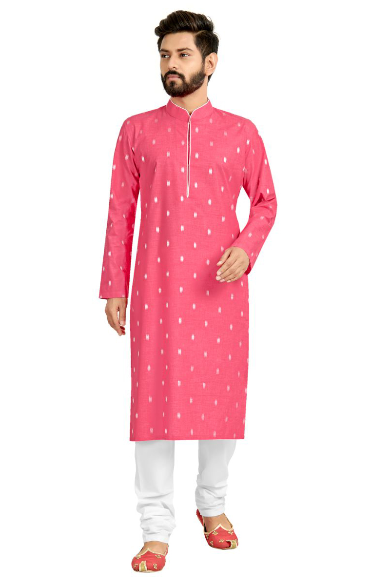 Function Wear Kurta Pyjama In Pink Color For Men