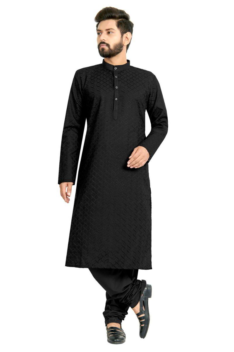 Black Color Function Wear Fancy Kurta Pyjama