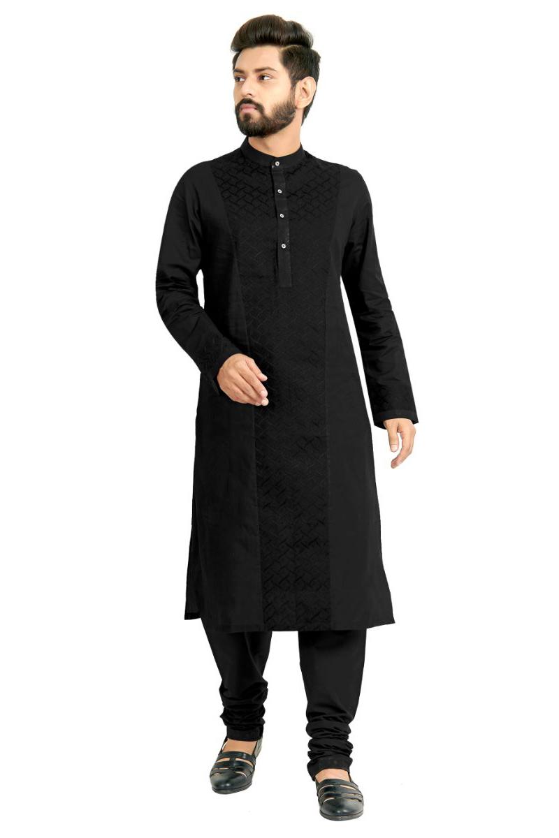 Festive Wear Stylish Kurta Pyjama In Black Color