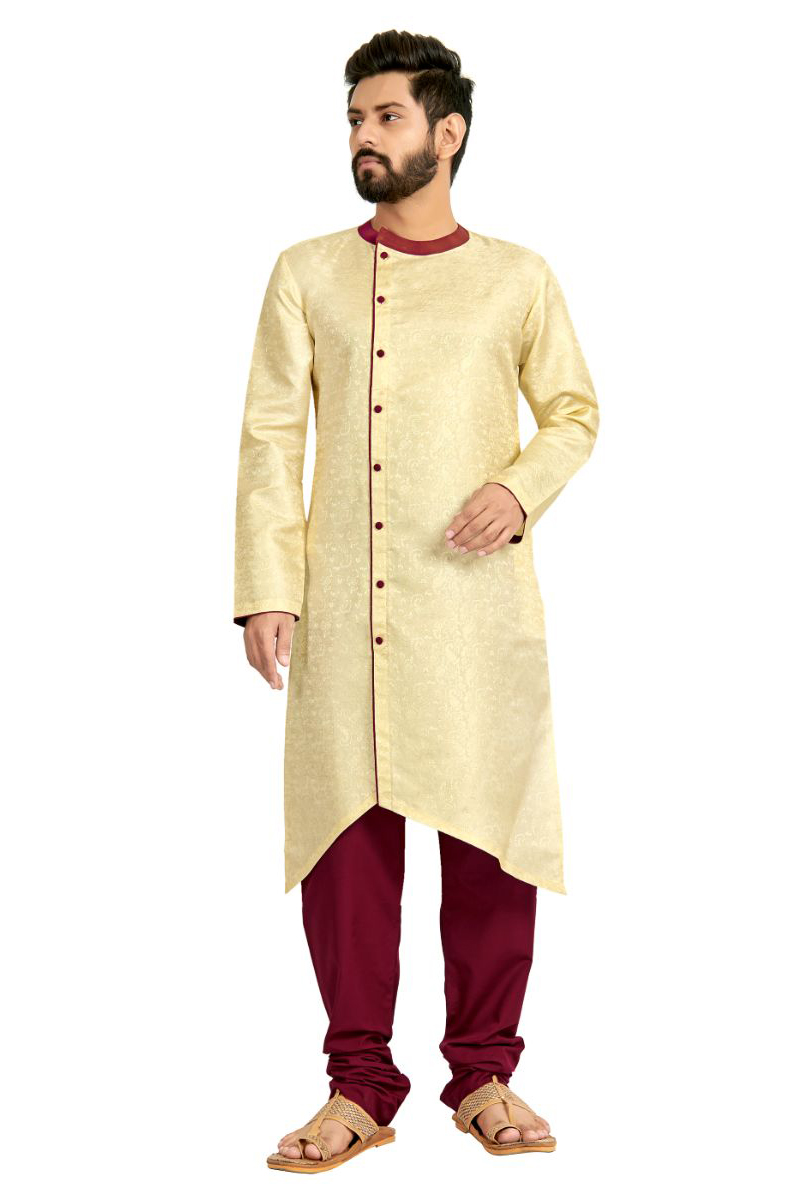 Festive Wear Kurta Pyjama In Beige Color