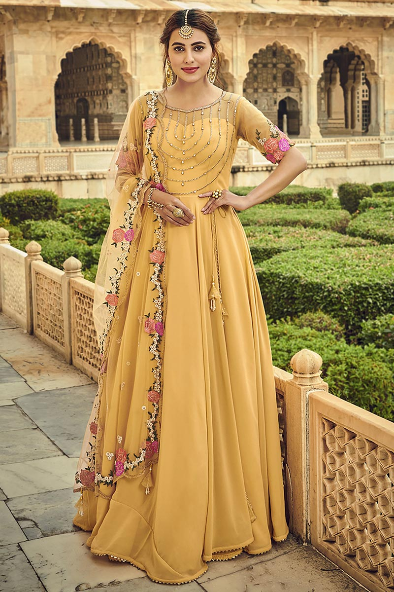 Yellow Color Festive Wear Embroidered Georgette Fabric Anarkali Salwar Suit
