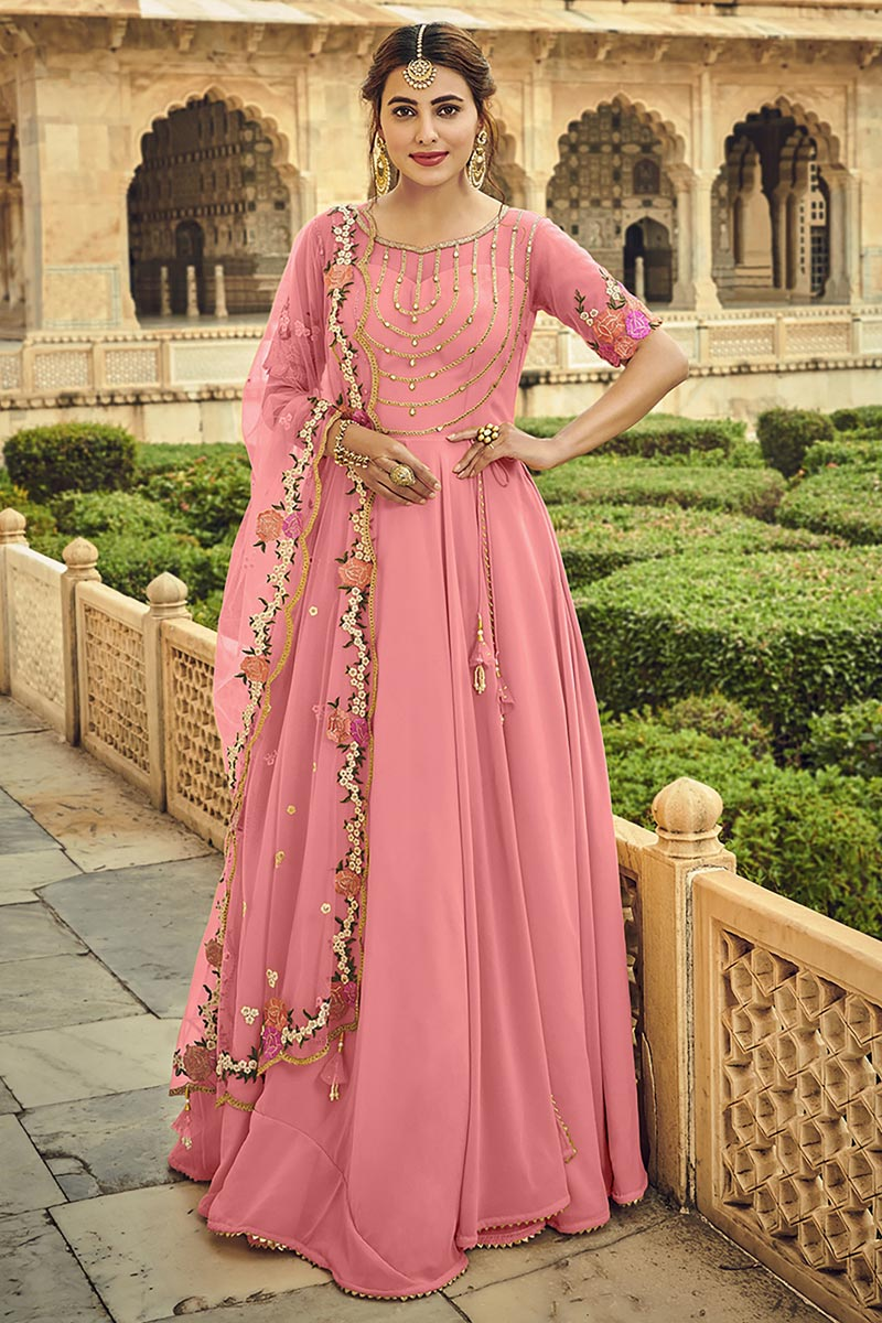 Pink Color Function Wear Embroidered Georgette Fabric Anarkali Dress