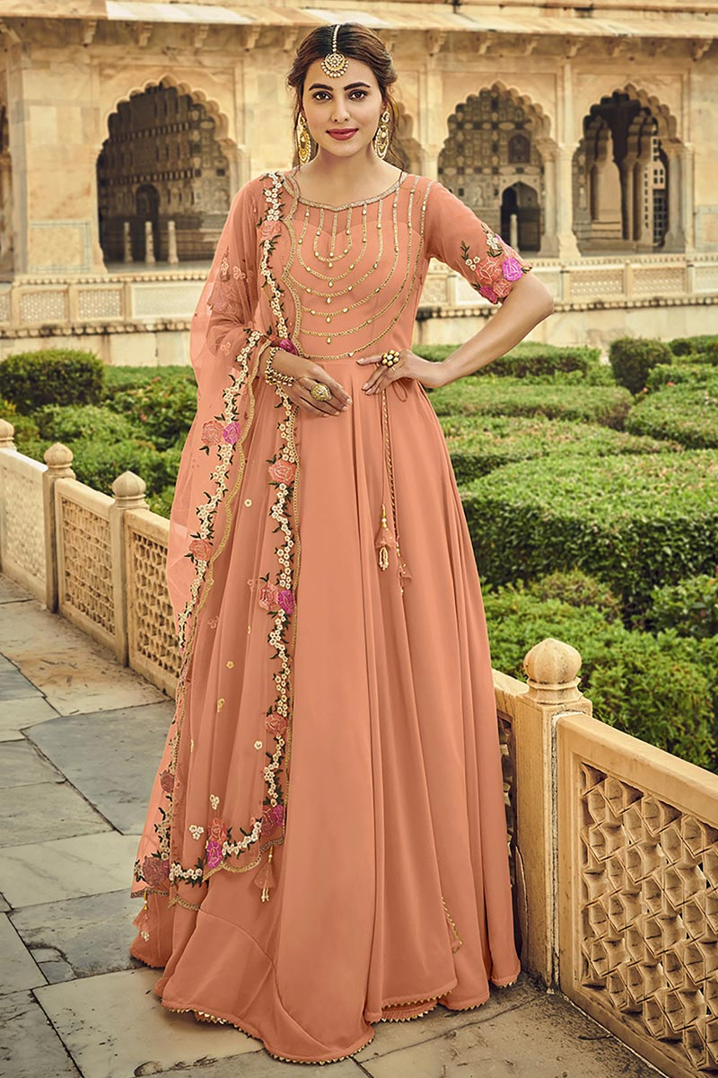 Georgette Fabric Party Wear Peach Color Embroidered Anarkali Suit