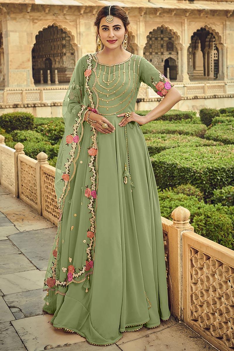 Georgette Fabric Sangeet Wear Embroidered Anarkali Salwar Kameez