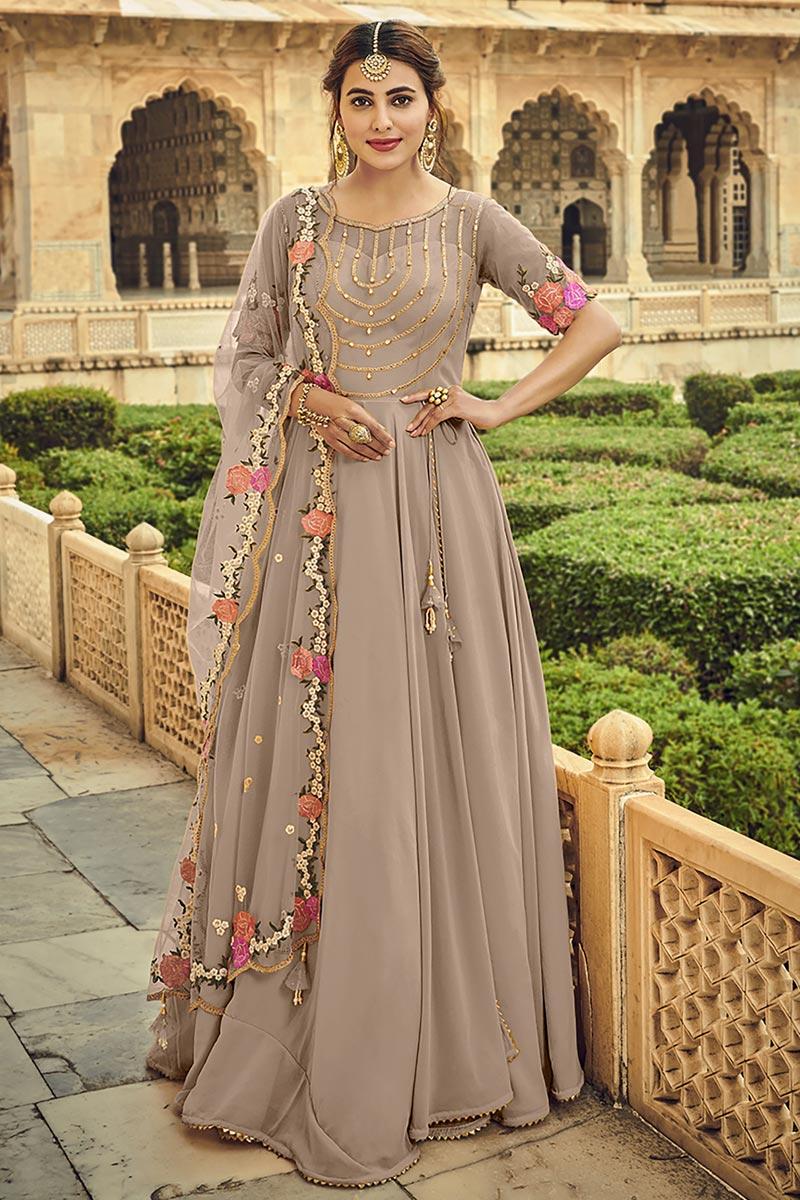 Georgette Fabric Wedding Wear Embroidered Anarkali Salwar Suit In Cream Color