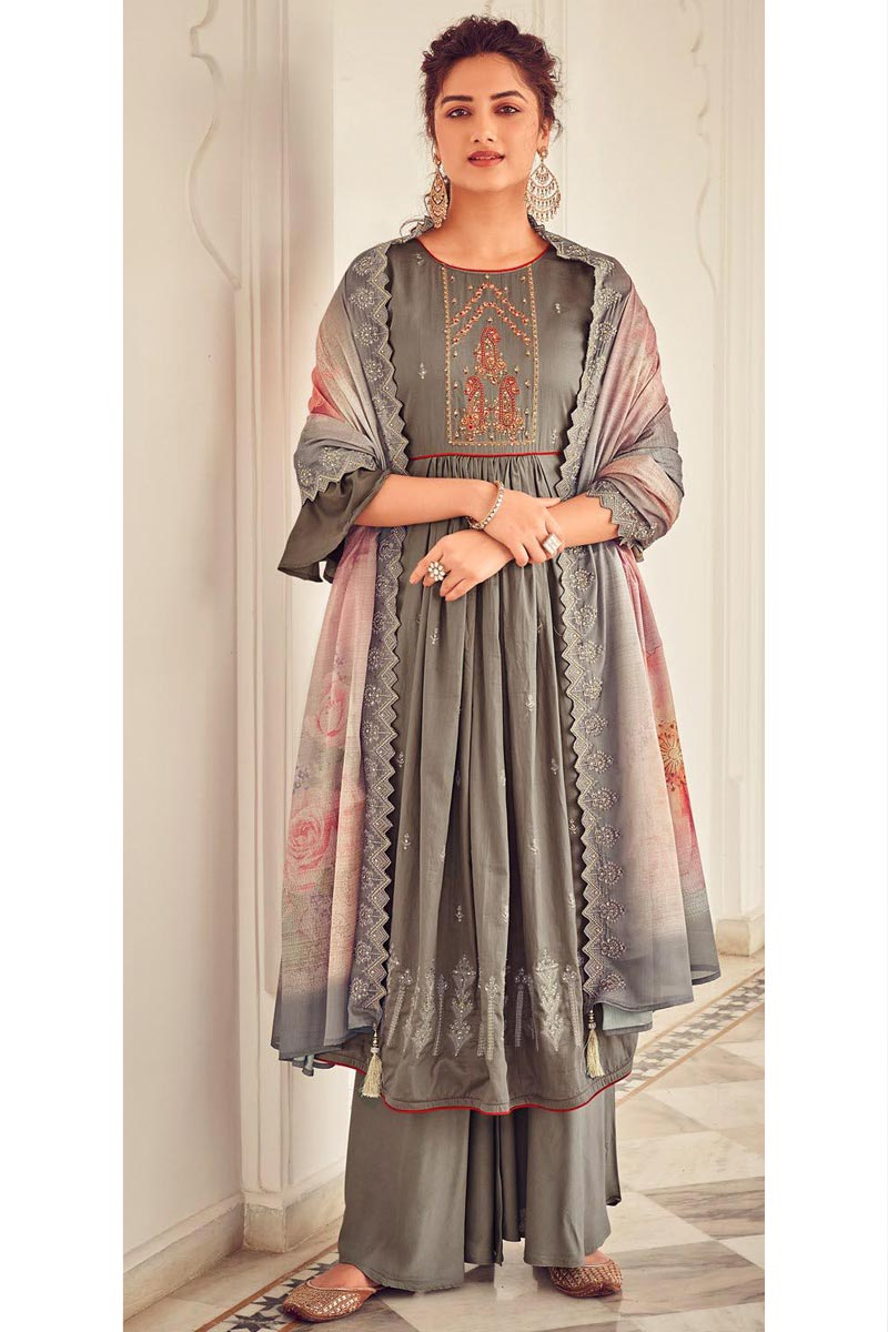 Grey Color Party Style Embroidered Cotton Fabric Palazzo Salwar Suit