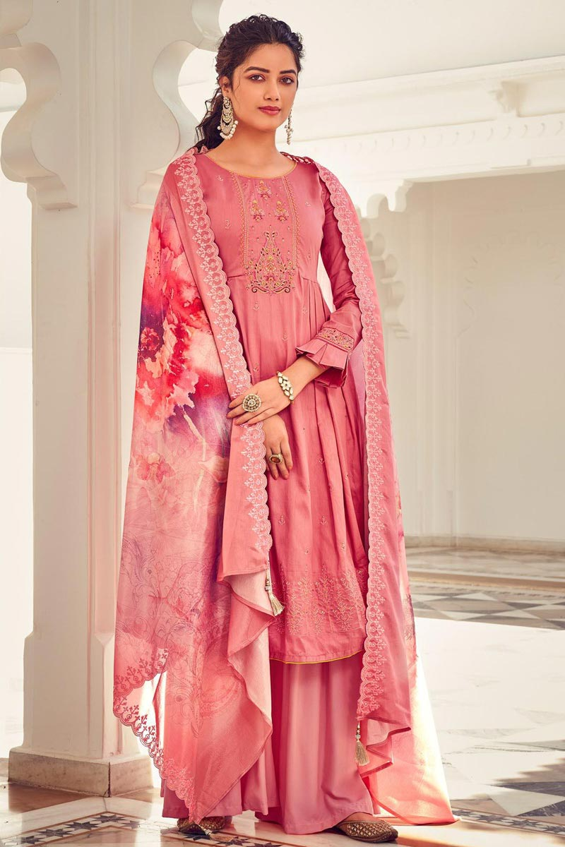 Pink Color Party Style Embroidered Cotton Fabric Palazzo Salwar Kameez