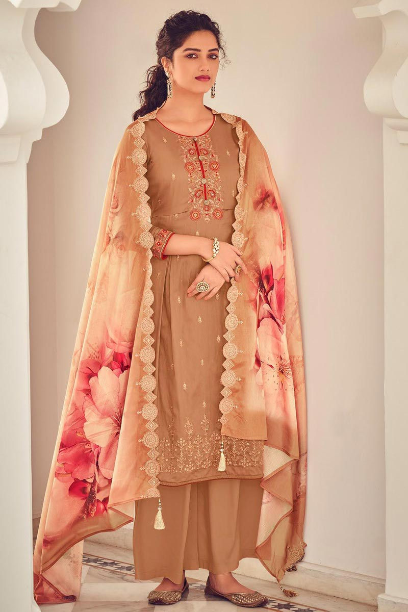Cotton Fabric Party Style Chikoo Color Embroidered Palazzo Salwar Suit