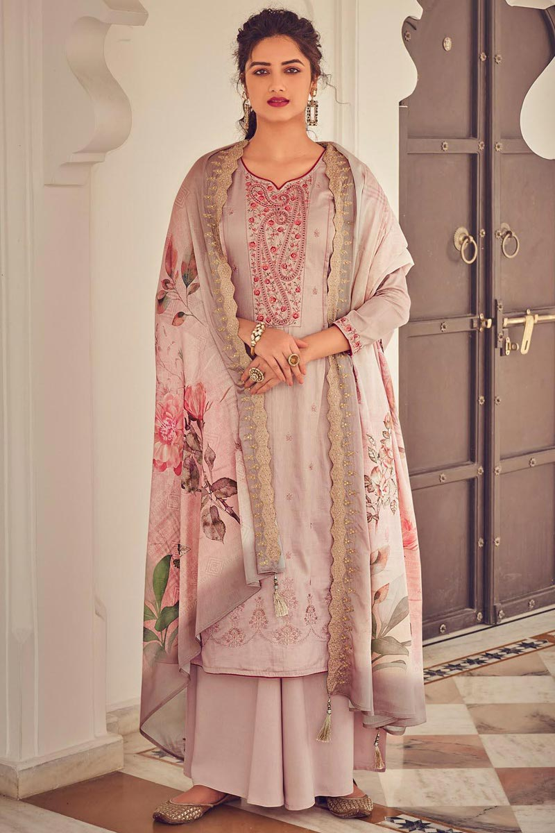 Pink Color Cotton Fabric Party Style Embroidered Palazzo Salwar Kameez