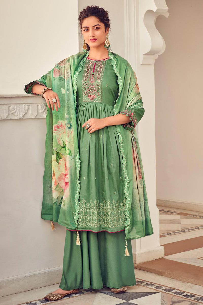 Cotton Fabric Party Style Embroidered Palazzo Salwar Kameez In Sea Green Color