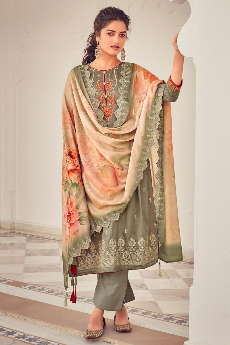 Party Style Cotton Fabric Cream Color Embroidered Palazzo Salwar Suit