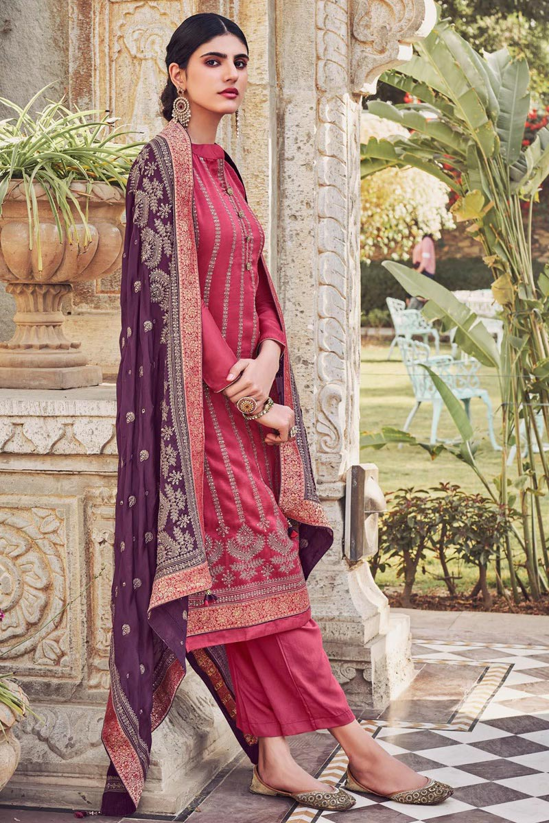 Pink Color Party Style Embroidered Chinon Fabric Palazzo Salwar Suit