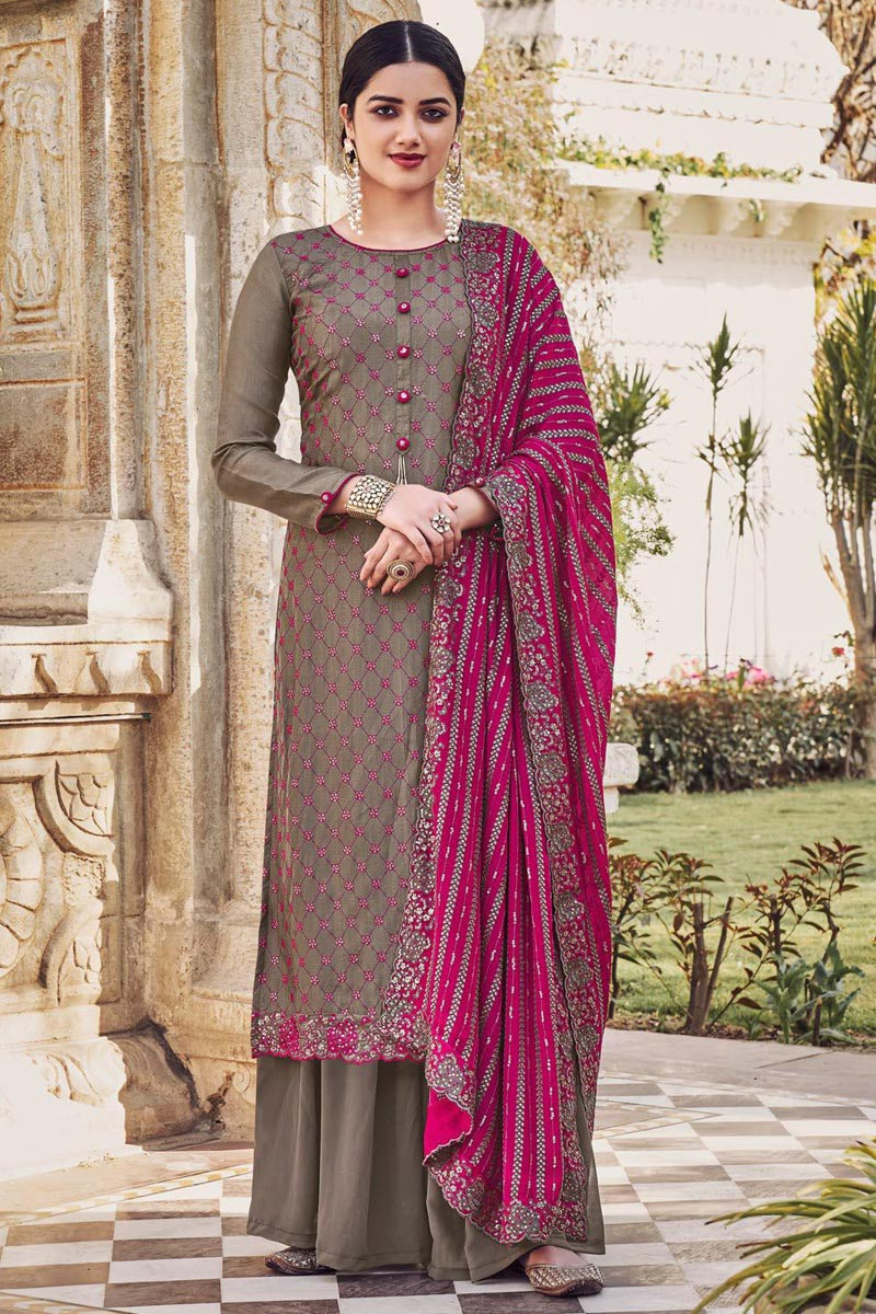 Dark Beige Color Party Style Embroidered Chinon Fabric Palazzo Salwar Kameez
