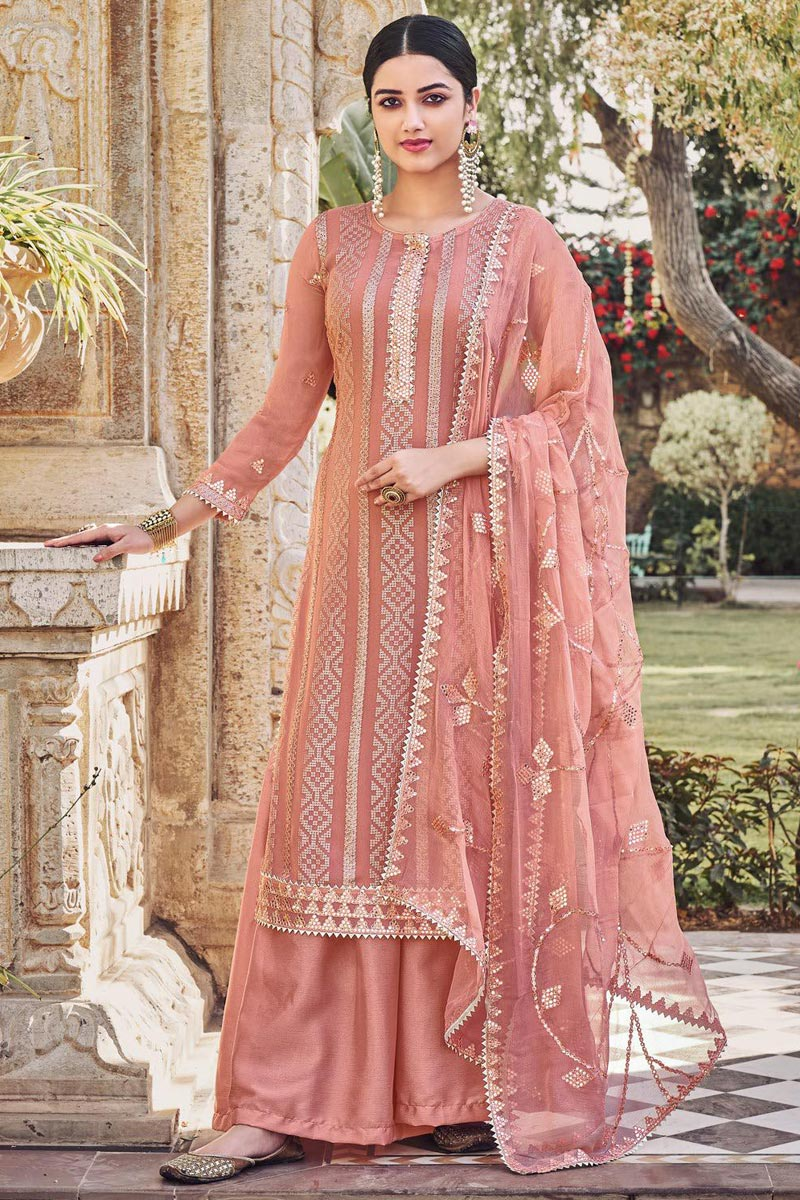 Peach Color Chinon Fabric Party Style Embroidered Palazzo Salwar Kameez