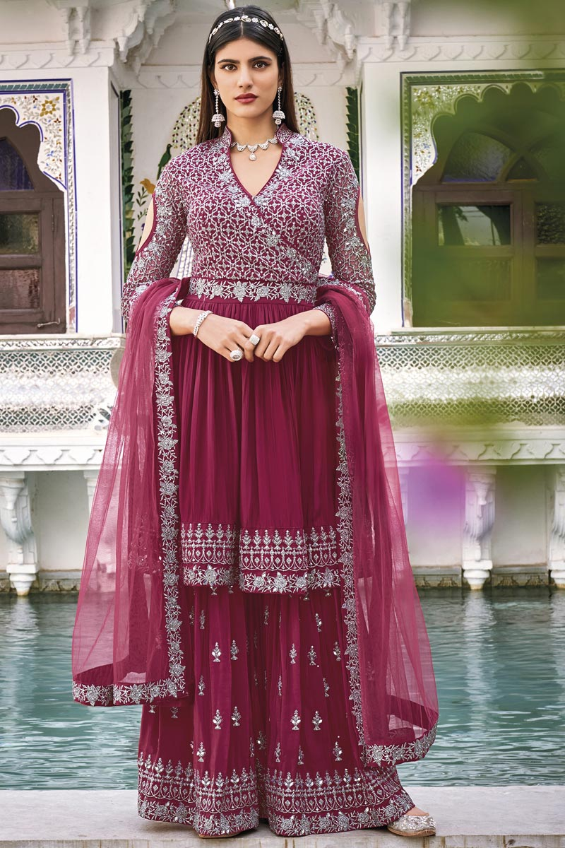 Wine Color Function Wear Embroidered Georgette Fabric Sharara Suit