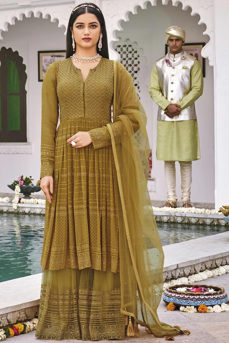 Mustard Color Festive Wear Embroidered Georgette Fabric Sharara Suit