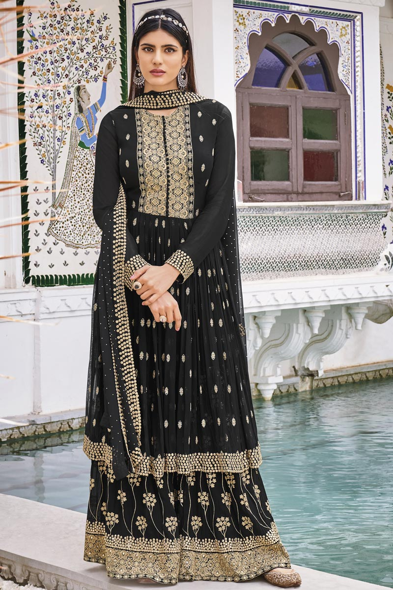 Georgette Fabric Party Wear Black Color Embroidered Sharara Suit