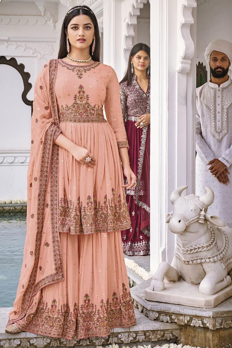 Peach Color Georgette Fabric Function Wear Embroidered Sharara Suit