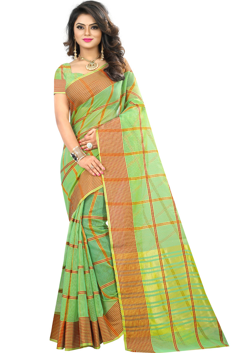 Best Selling Sea Green Cotton Fabric Temple Wear Traditional Saree