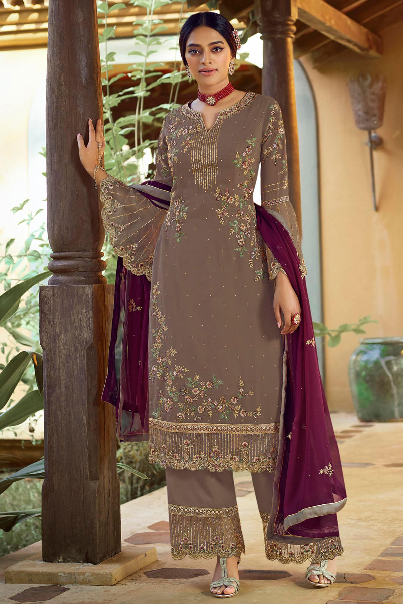 Georgette Fabric Party Style Dark Beige Color Elegant Embroidered Palazzo Suit
