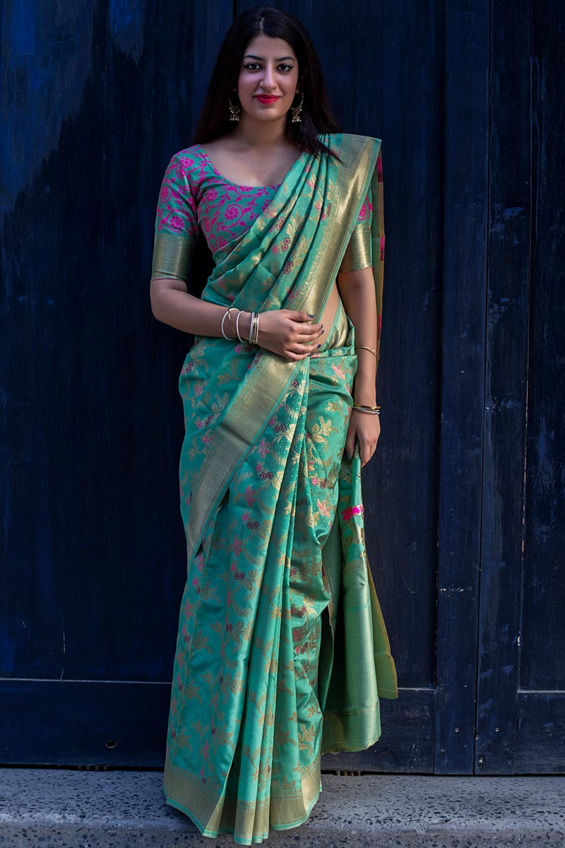 Art Silk Fabric Party Style Elegant Cyan Color Weaving Work Saree