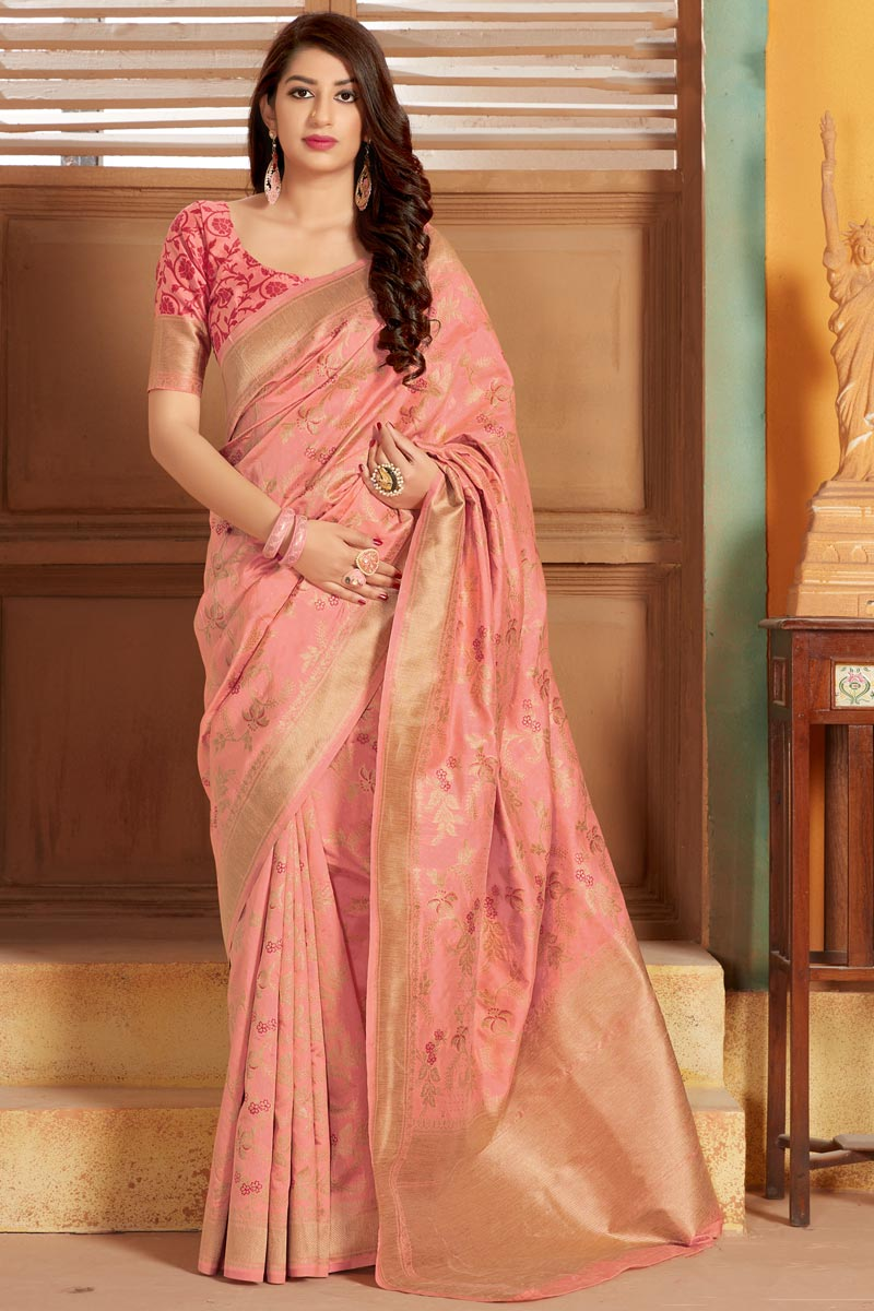 Party Style Peach Color Elegant Art Silk Fabric Weaving Work Saree
