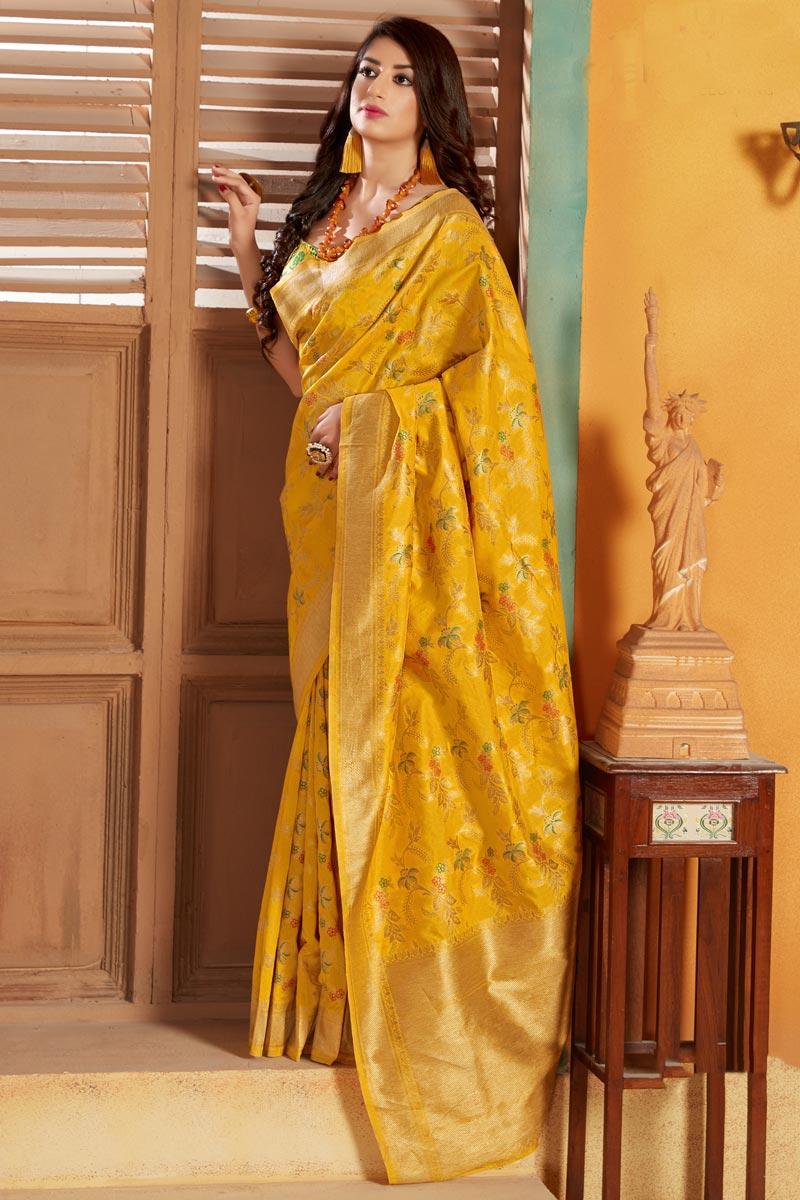 Art Silk Fabric Elegant Party Style Yellow Color Weaving Work Saree