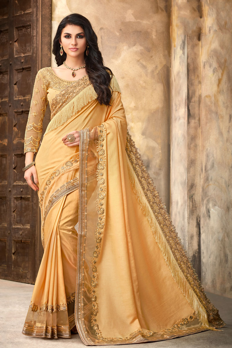 Occasion Wear Art Silk Fabric Embroidered Saree In Cream Color With Designer Blouse