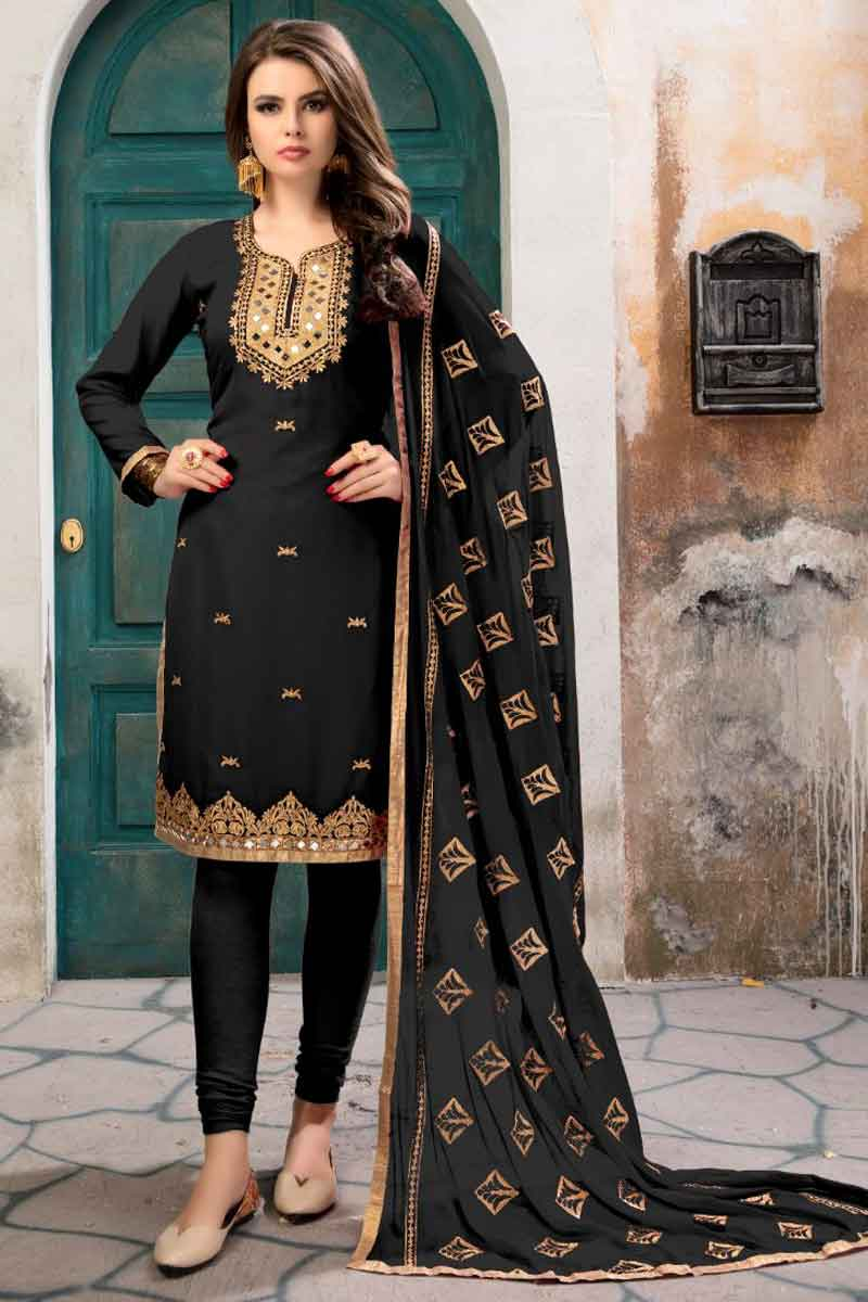 Black Georgette Party Wear Straight Cut Embroidered Dress