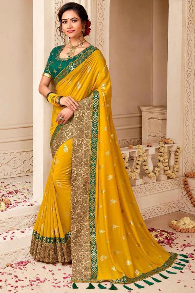 Wedding Style Fancy Embellished Yellow Weaving Work Saree In Art Silk
