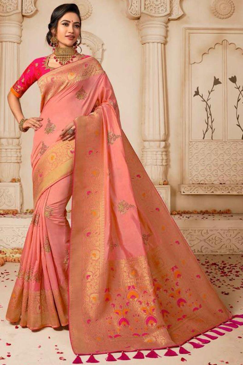 Designer Wedding Wear Pink Embellished Weaving Work Saree In Art Silk