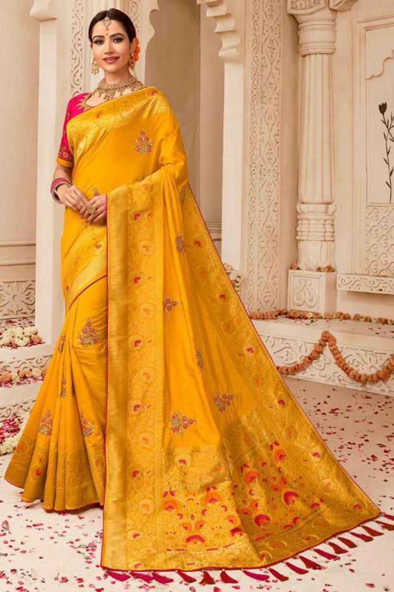 Wedding Style Fancy Embellished Art Silk Mustard Saree With Weaving Work