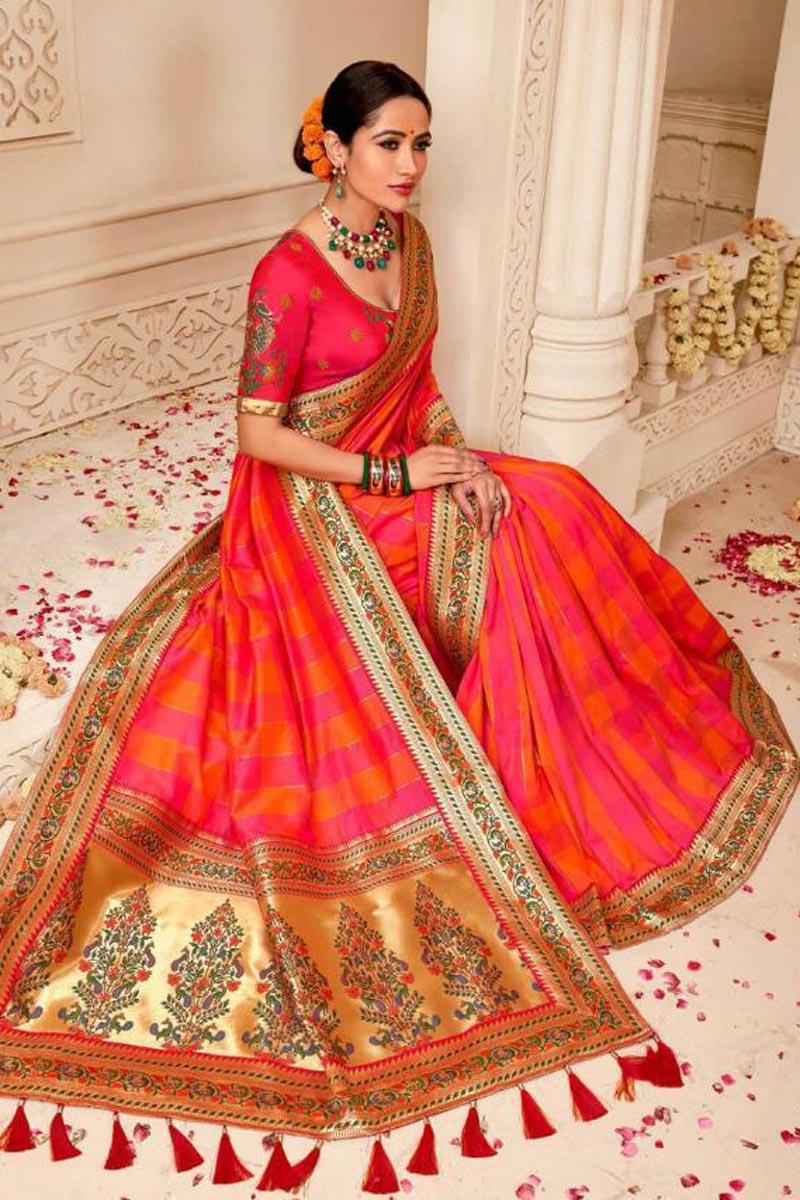 Designer Wedding Wear Pink Art Silk Embellished Saree With Weaving Work