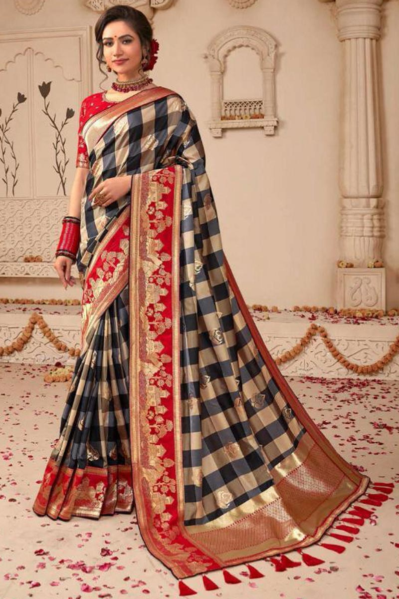Wedding Style Fancy Embellished Art Silk Weaving Work Saree In Beige