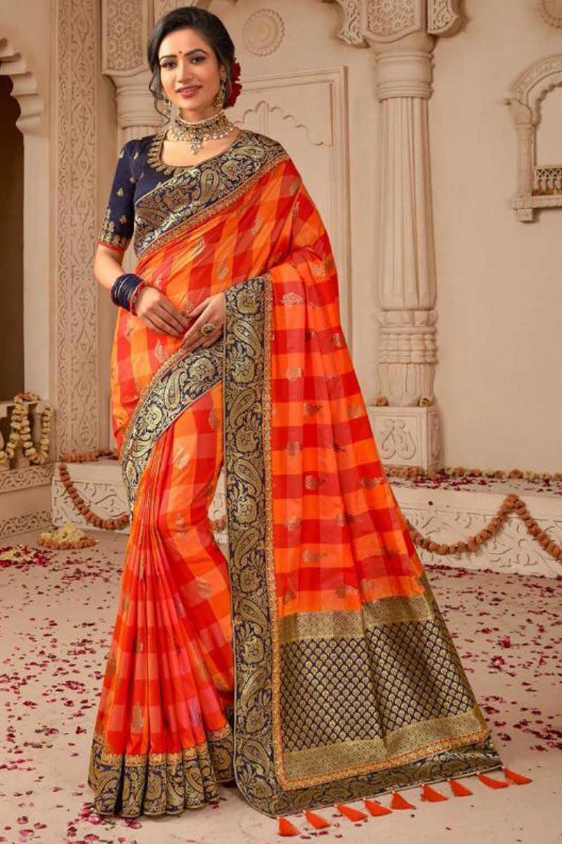 Designer Wedding Wear Art Silk Embellished Weaving Work Saree In Orange