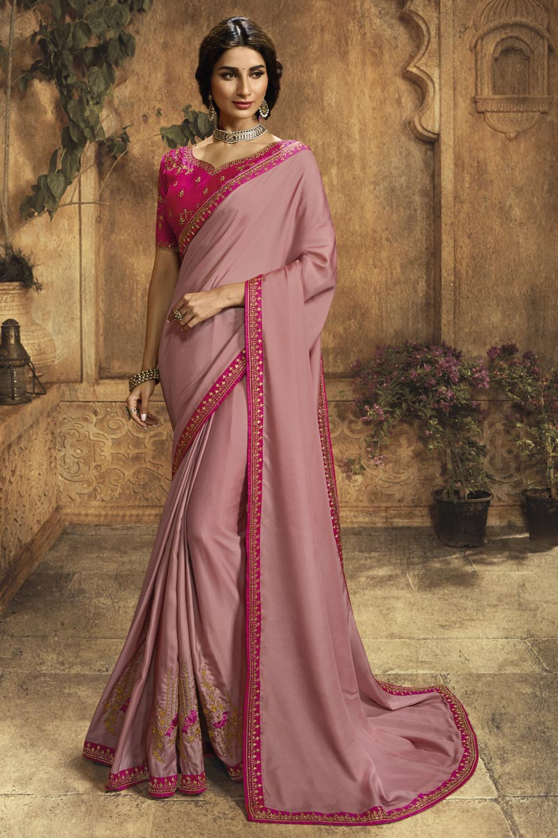 Pink Art Silk Function Wear Designer Saree With Embroidered Blouse