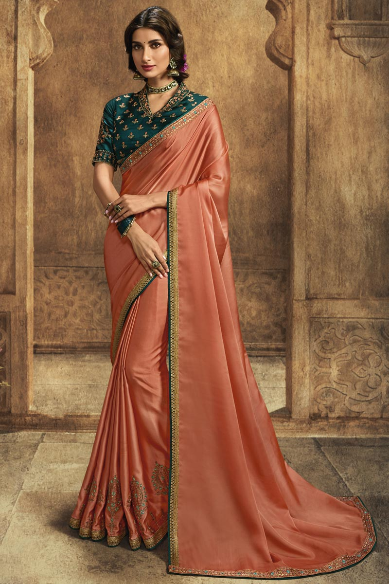 Function Wear Art Silk Designer Saree In Peach With Embroidered Blouse