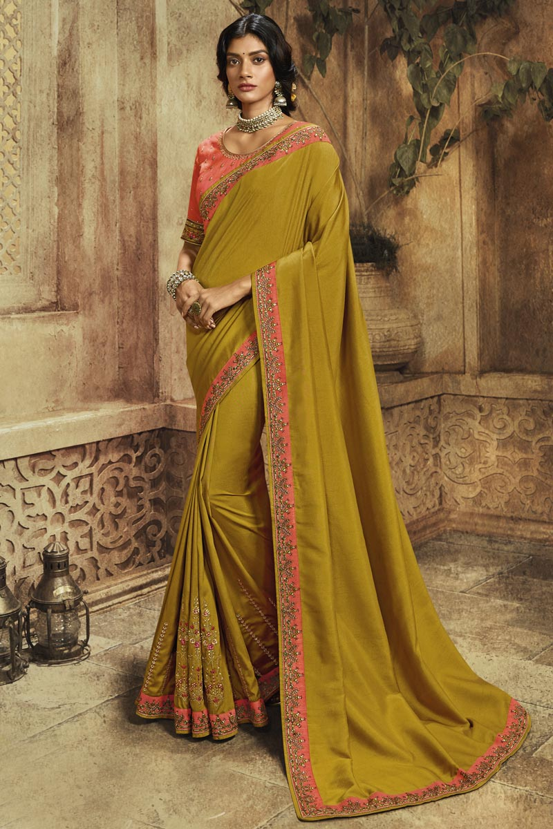 Mustard Function Wear Art Silk Designer Saree With Embroidered Blouse
