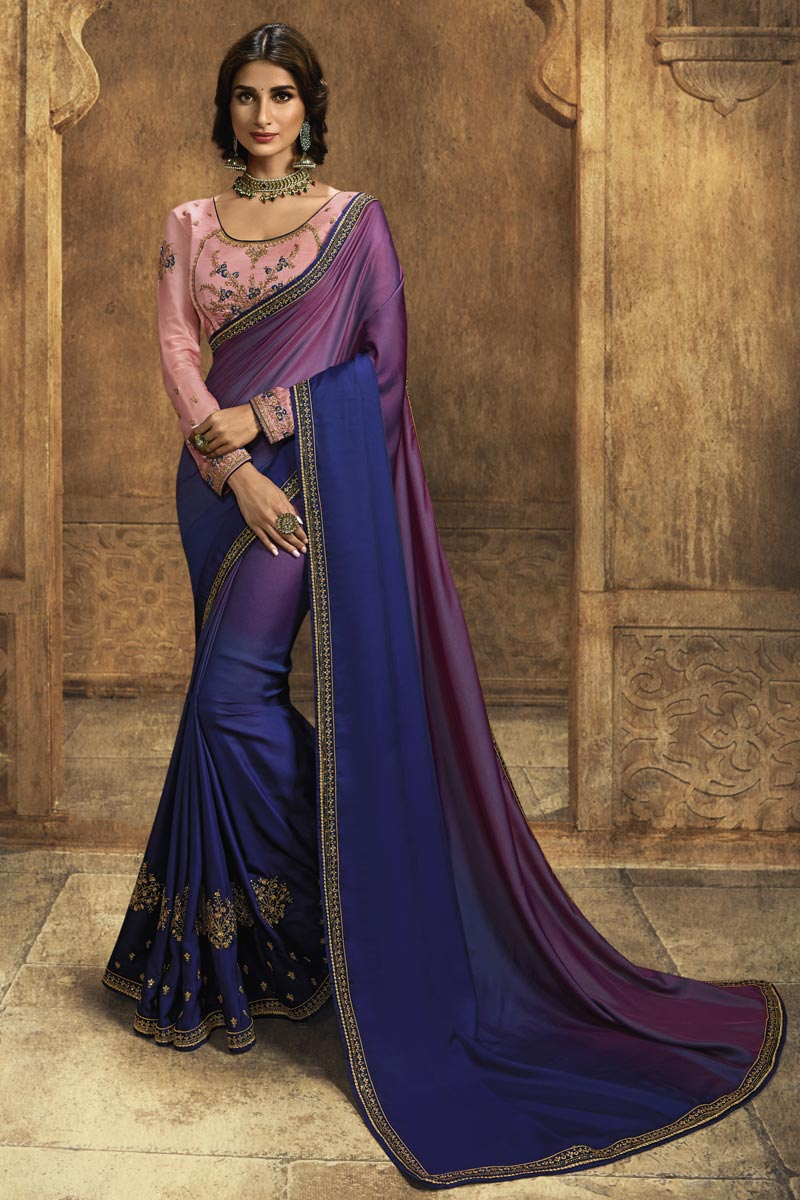 Function Wear Blue Designer Saree In Art Silk With Embroidered Blouse