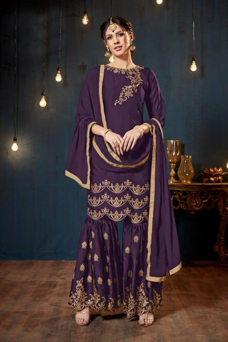 Traditional Party Wear Embroidered Georgette Purple Sharara Suit