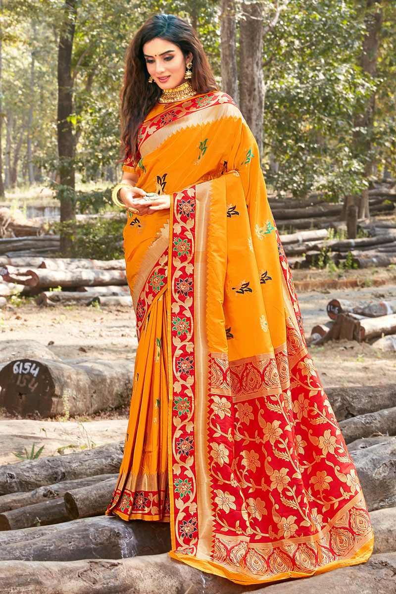 Weaving Work And Blouse With Orange Color Party Wear Saree In Art Silk Fabric