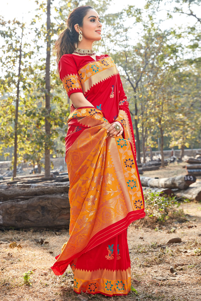 Occasion Wear Art Silk Fabric Saree In Red Color With Weaving Work And Blouse