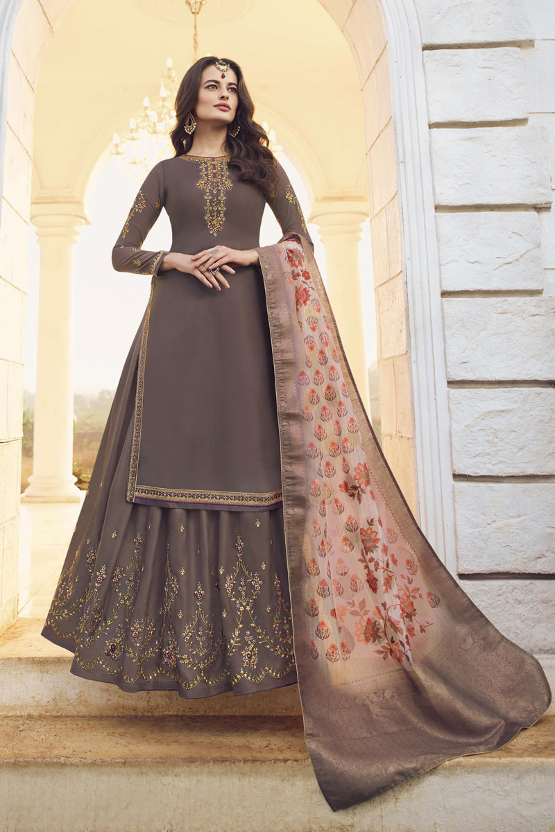 Designer Sharara Lehenga In Wine Color Satin Georgette Fabric With Embroidery Work