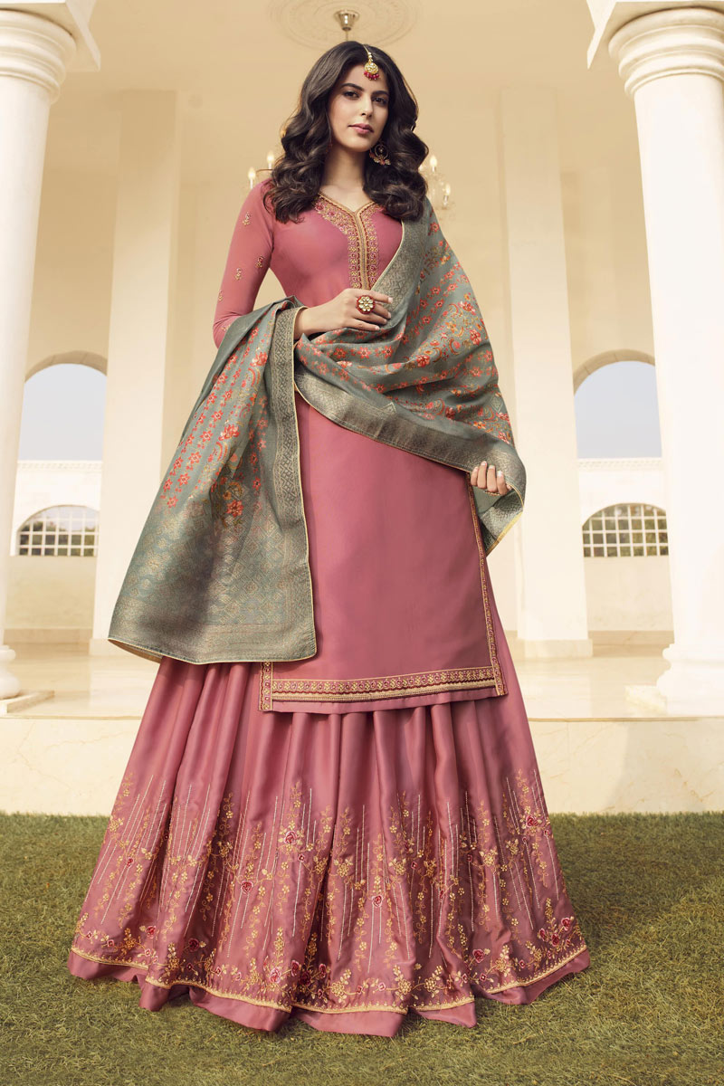 Eid Special Embroidery Work On Pink Color Party Wear Satin Georgette Fabric 3 Piece Sharara Top Lehenga